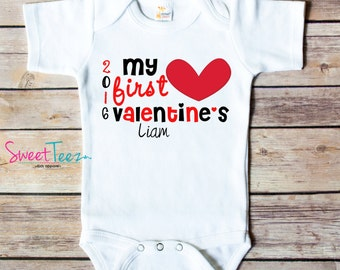 My First Valentine's day Shirt Baby Boy Girl Bodysuit heart Personalized with Name and Year