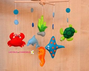 Baby Crib Mobile ,Baby Mobile ,Nursery Crib Mobile, Sea creatures, crab, ray, turtle, dolphin, seahorse
