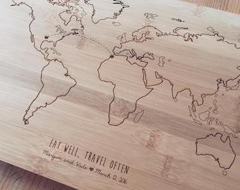 Map Cutting Board, Travel Cutting Board, Chopping Block, Custom Cutting Board, Wood Chopping Board, Couple Cutting Board, Long Distance Gift