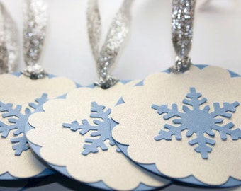 Snowflake Gift Tags, Set of 6 Handmade Tags, Light Blue and White Tags, Winter Wedding, Snowflake, Favor Tags, Holidays, Christmas, Winter