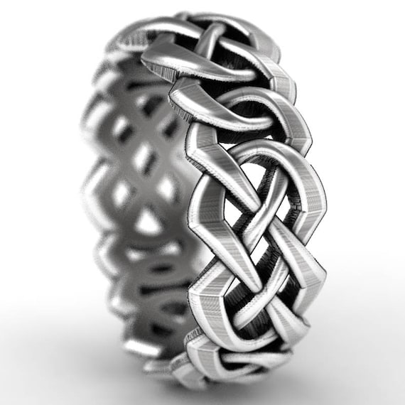 Celtic Cut-Through Quaternary Knot Design in Sterling Silver, Made in Your Size CR-1065