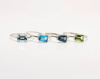 Sterling Silver Minimalist Emerald Cut Stack Rings