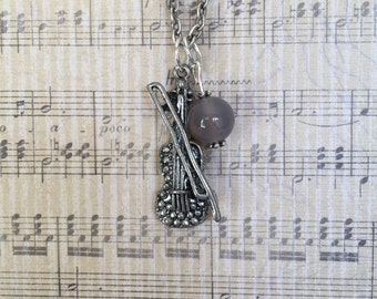 Antique silver violin charm necklace with jade bead