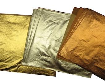 "Imitation Gold(10) Imitation Silver(10) Genuine Copper(10) Total 30 Leaf Sheets 5 1/2"" x 51/2"""