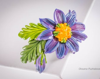 Purple daisy Hair french barrette clip, hair barrette, daisy clip, french flower barrette gift, french clip