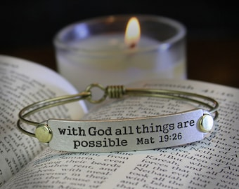 Sweet Romance Bible Verse Bracelet - With God all things are possible Mat 19:26, Christian Jewelry, Religious Scripture Christmas Gift BR510
