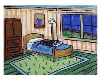Border Collie Taking a Nap Dog Art Print   JSCHMETZ modern abstract folk pop art AMERICAN ART gift