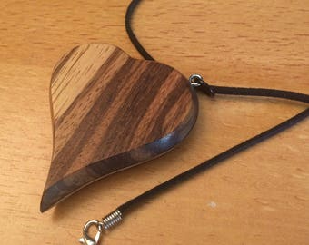 Zebra Wood and Quilted Maple heart pendant necklace