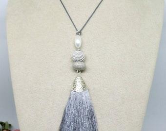 Grey SilverTassel Pendant , Boho Pendant, Beaded Pendant,Pendant Necklace ,Tassel Pendant ,Handmade Jewellery ,Wearable Art ,Boho Necklace