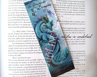 purple blue Chinese dragon bookmark