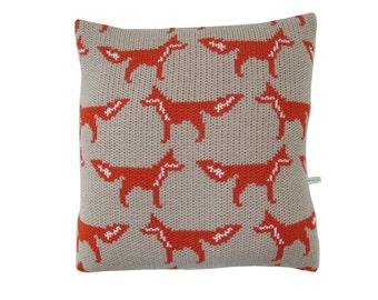Fox Knitted Cushion Cover