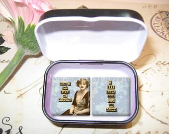 Set of 2 Glass Tile Magnets,  Fridge Magnets in gift tin, Vintage Funny Magnets, Best friends gift, Hostess Gift, SET OF 2.