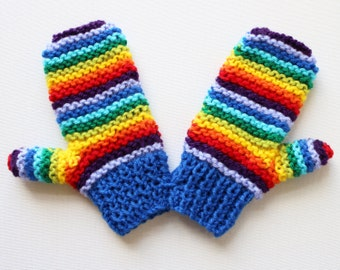 Blue Rainbow Pixie Mittens - Colourful Childs' Mittens - Blue and Rainbow Mittens for Child