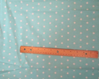 Light Blue Polka Dot Flannel Fabric by the Yard