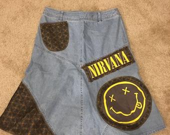 Nirvana 1992 patchwork skirt size 8 & one of a kind by GmaJanisew