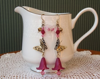 Ornate Dangle Butterfly Earrings with Swarovski Crystals