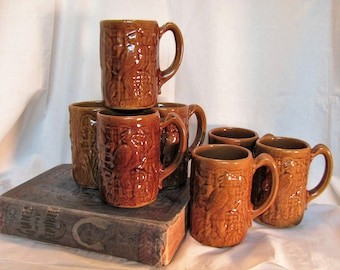 Stoneware Mugs with Parrot From the 1800's
