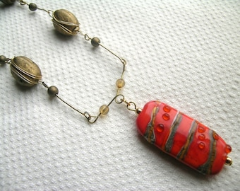 Marmalade sunset: unique repurposed upcycled vintage gold tone metal with vintage wire wrapped bead and modern handmade glass bead necklace