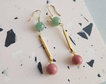 Aventurine and Rhodonite bead earrings