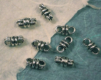 Antiqued Silver Double Band Pewter Connector Links - 24 beads (P227)