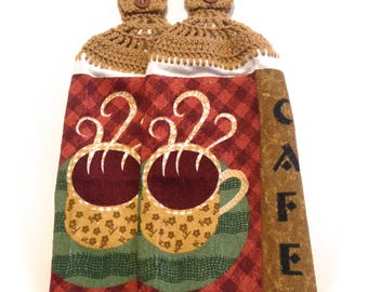 Coffee Cafe Dish Cloths With Warm Brown Crocheted Tops- White Pair