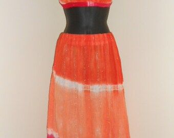 Orange and Strawberry Sherbert Tie Dye Halter Top and Skirt Set- 015