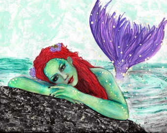 It's Not Easy Being Green Mermaid, High Quality Print, Original Drawing *Print*, Wall Art Decor