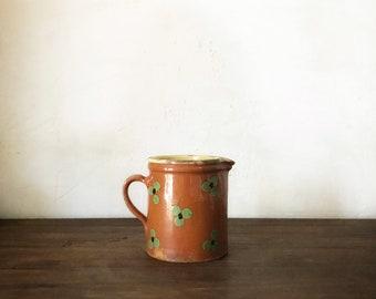 Vintage Glazed Ceramic Pitcher Jug / Antique french jug / antique pitcher / antique ceramic jug / french rustic jug / creamware jug /