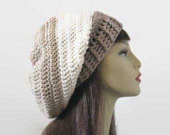 Crochet Slouchy Cream Hat Slouch Cream Beanie Striped Off White knit Slouch Hat Beige Crochet women's Hat Tan Multicolored slouchy Hat