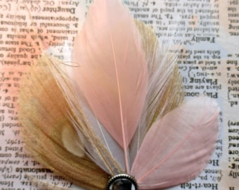 ELLE Ivory and Pink Peacock Feather Hair Clip, Vintage-inspired Fascinator