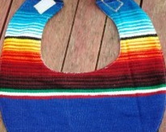 Serape Bib, zerape, baby shower gift, newborn -toddler bib, Mexican blanket
