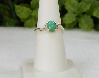 Turquoise Ring, Size 7.5,  Green Turquoise, Sterling Silver, December Birthstone, Natural Turquoise