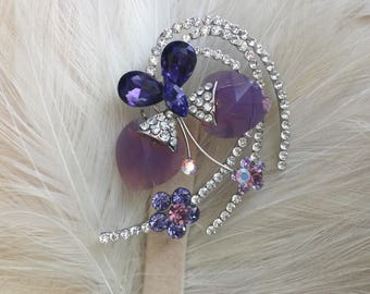 Twin Heart Purple Faceted And Rhinestone Cosmic Swirl Brooch