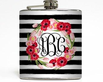 Custom Flask Personalized Stripe Flowers Name Monogram Custom 21st Birthday Women Gifts - Stainless Steel 6 oz Alcohol Hip Flask  LC-1611