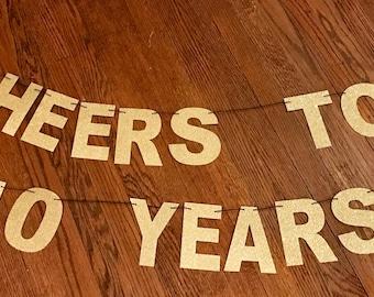 Cheers to 40 years banner, Cheers to 40 years, Cheers to 30 years, Cheers Birthday banner, Cheers banner, Martini birthday banner