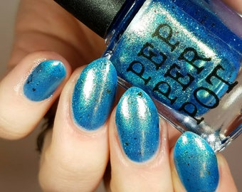 Blue Green Turquoise Gold Foil Nail Polish Cosmic Thing Bath Beauty Gift Under 10 Gift For Her Pepper Pot Polish