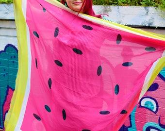 Watermelon Scarf Shawl | Ladies Fruit Wrap | Bright Colourful Scarf | Beach Sarong Beach Wear | Pink Ladies Accessories