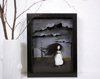 Art Doll Girl - Shadow box Art, 3D grey Landscape, Clay Sculpture, Grey Clouds, Moors Landscape, Tim Burton