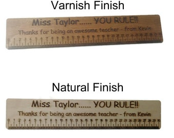 Personalised Ruler High Quality Birch Plywood 30cm Long Teacher Present Any Text
