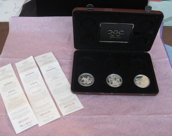 1896 - 1996 Olympic Centennial 3 Coin Sterling Set-Canada, Austrailia, France.