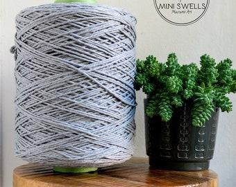 Grey Cotton Rope - Super Soft Luxe String Cotton Cord - 3mm - 1000 Meters - Macrame Rope - Diy Macrame - Weaving - Macrame
