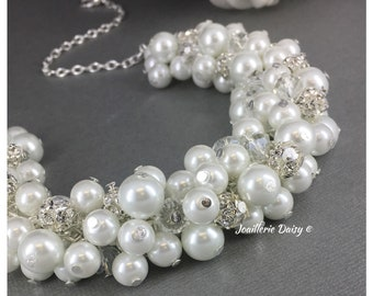 Bridal Necklace Bridesmaid Gift Cluster Necklace Bridesmaid Necklace Maid of Honor Gift for Her Bridal Party Wedding Jewelry