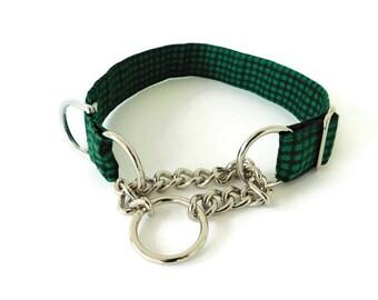 Green Martingale Dog Collar, Green Dog Collar,