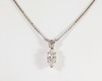 Elegant 14k White Gold and Marquise Diamond Pendant Necklace
