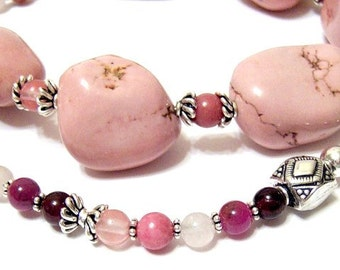 Dusty Pink Turquoise Nugget Signature Design 24 inch long Necklace