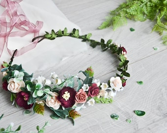 Fall Burgundy Floral crown, lily of the valley flower crown,Bridal Flower crown,Burgundy Flower crown,Burgundy headpiece,Winter flower crown