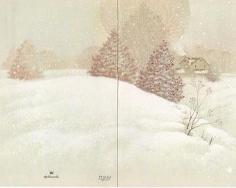 Panoramic Snowy Winter Christmas scene Greeting card, Used, c1988, good shape