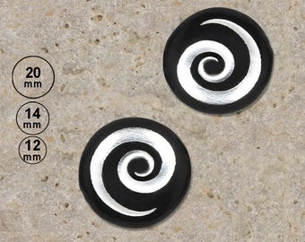 2 round cabochon 20 mm resin spiral silver exist in 14 and 12 mm