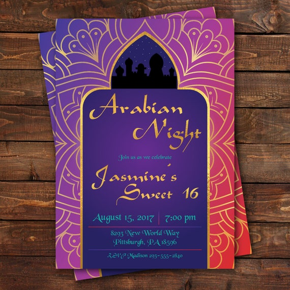 Arabian Nights Birthday Invitation Sweet 16 Invitation