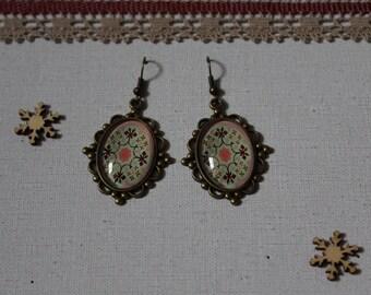 Big earring, ethnic, glass cabochon